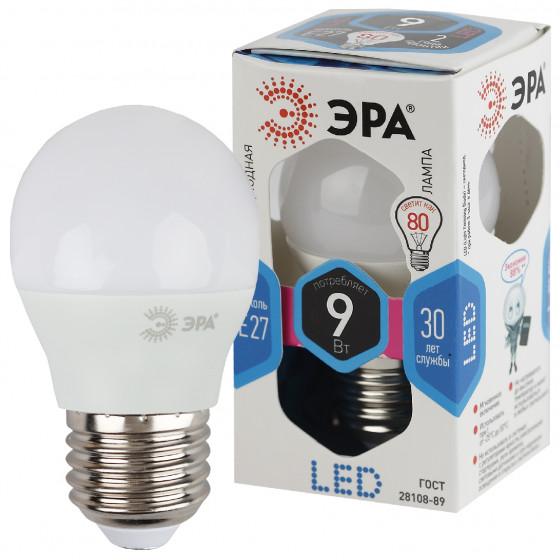 LED P45-9W-840-E27 ЭРА (диод, шар, 9Вт, нейтр, E27) (10/100/3600)