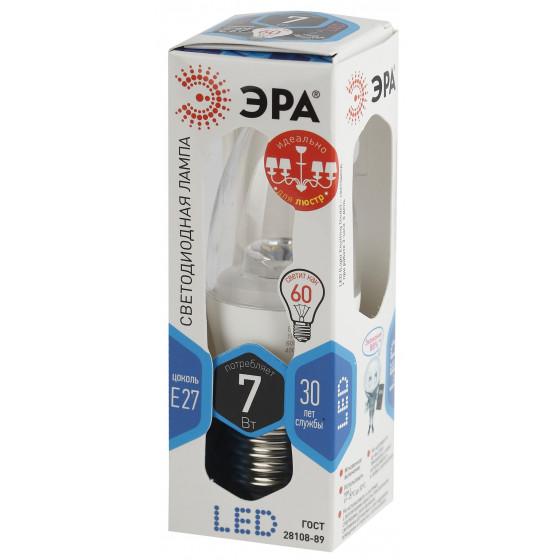 LED B35-7W-840-E27-Clear ЭРА (диод,свеча,7Вт,нейтр,E27) (6/60/2640)