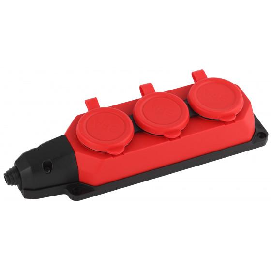 K-3e-RED-IP44 ЭРА Колодка каучуковая с/з 3гн 16A IP44 красная (9/90/540)