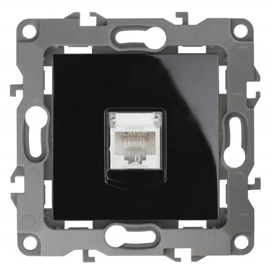 12-3107-06 ЭРА Розетка информационная RJ45, IP20, Эра12, чёрный (10/100/3200)
