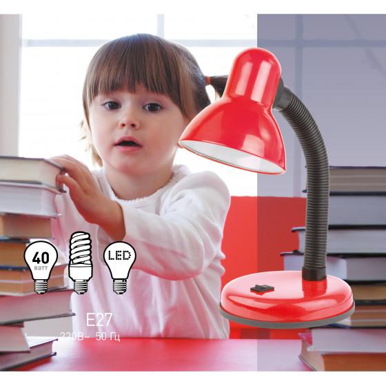 ЭРА наст.светильник N-120-E27-40W-R красный (20/180)