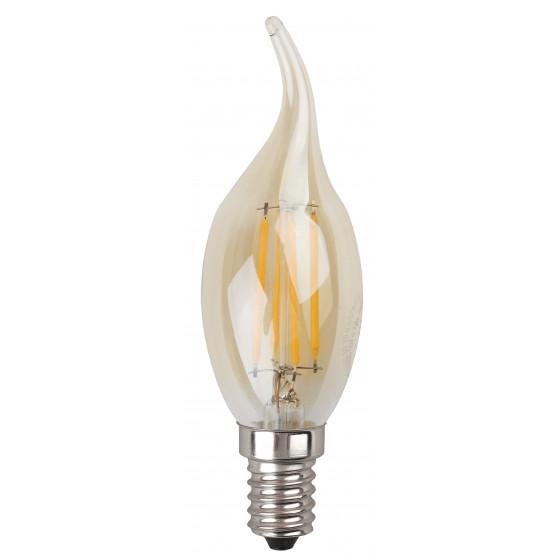 F-LED BXS-7W-827-E14 gold ЭРА (филамент, свеча на ветру золот., 7Вт, тепл, E14) (10/100/4000)