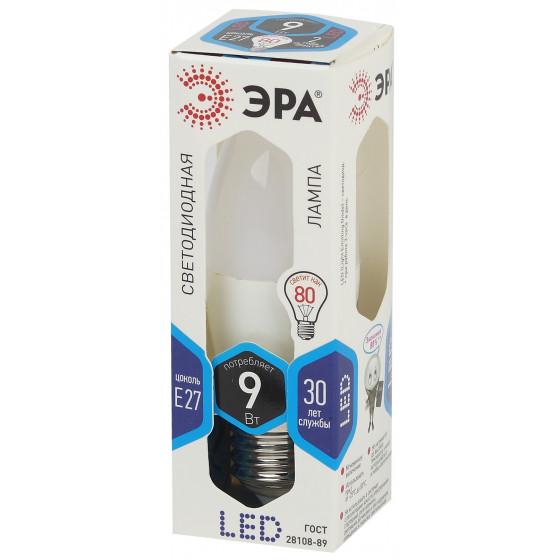 LED B35-9W-840-E27 ЭРА (диод, свеча, 9Вт, нейтр, E27) (10/100/3500)