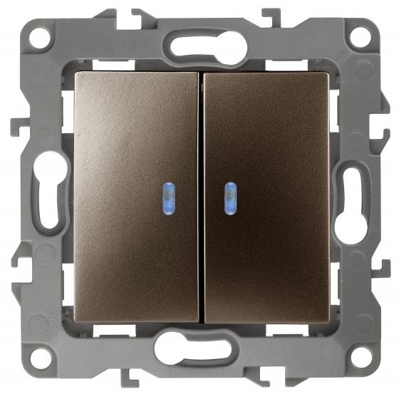 12-1105-13 ЭРА Выключатель двойной с подсветкой, 10АХ-250В, IP20, Эра12, бронза (10/100/3200)