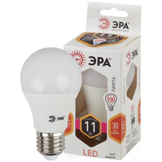 LED A60-11W-827-E27 ЭРА (диод, груша, 11Вт, тепл, E27) (10/100/2000)