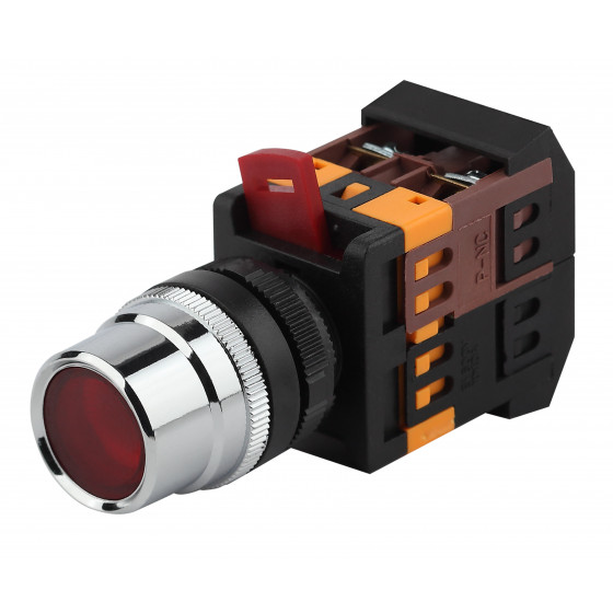 ЭРА Кнопка ABLF-22 красный d22мм неон/240В 1з+1р (10/400/3200)