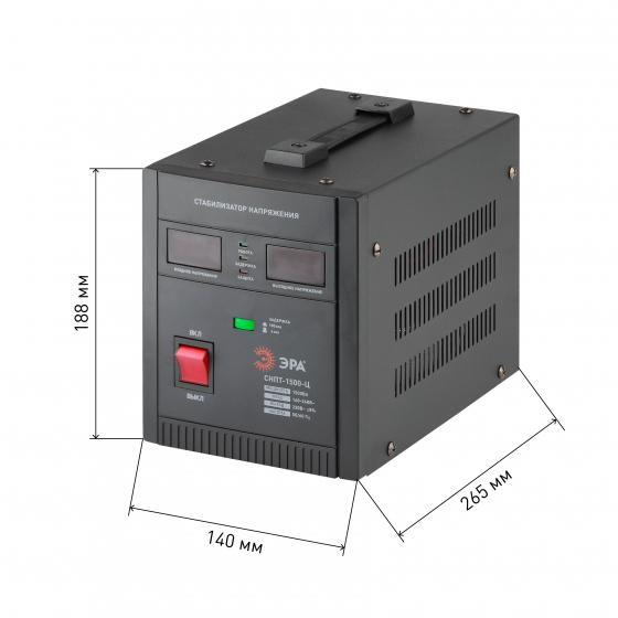 СНПТ-1500-Ц ЭРА Стабилизатор напряжения переносной, ц.д., 140-260В/220/В, 1500ВА (4/80)