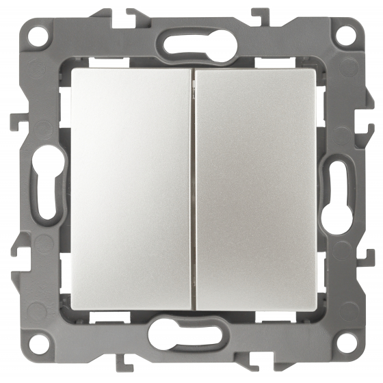 12-1106-15 ЭРА Переключатель двойной, 10АХ-250В, IP20, Эра12, перламутр (10/100/2500)