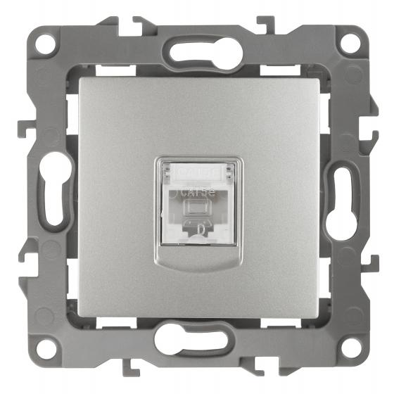 12-3107-03 ЭРА Розетка информационная RJ45, IP20, Эра12, алюминий (10/100/3200)