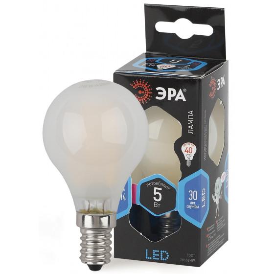 F-LED P45-5W-840-E14 frost ЭРА (филамент, шар мат., 5Вт, нейтр, E14) (10/100/3000)