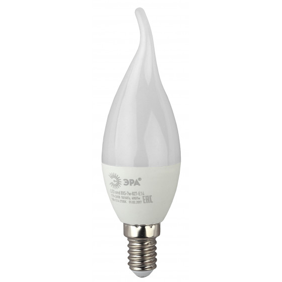 LED BXS-7W-827-E14 ЭРА (диод, свеча на ветру, 7Вт, тепл, E14) (10/100/2800)
