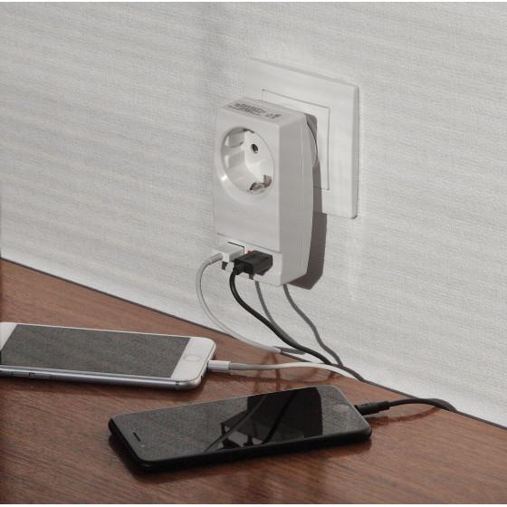 "SP-1e-USB-W ЭРА Адаптер ""Polynom"" 1гн 220V + 2xUSB 2100mA, c заземл, (белый) (10/60/1440)"