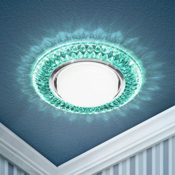 DK LD23 BL2/WH Светильник ЭРА декор cо светодиодной подсветкой Gx53, бирюзовый (50/800)