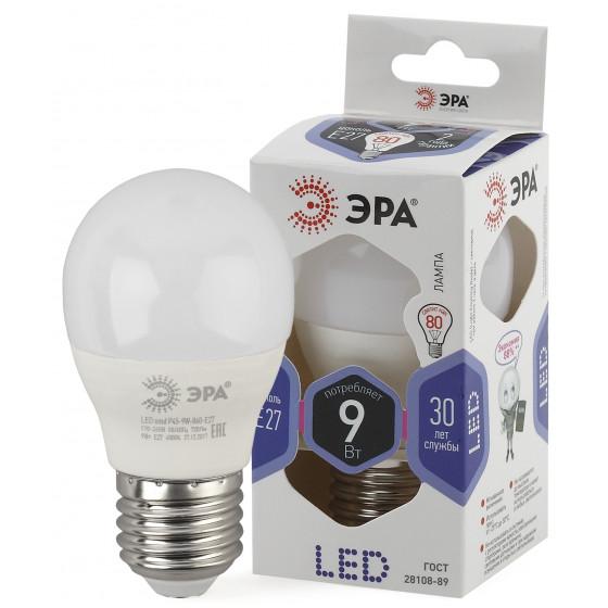 LED P45-9W-860-E27 ЭРА (диод, шар, 9Вт, хол, E27) (10/100/3600)
