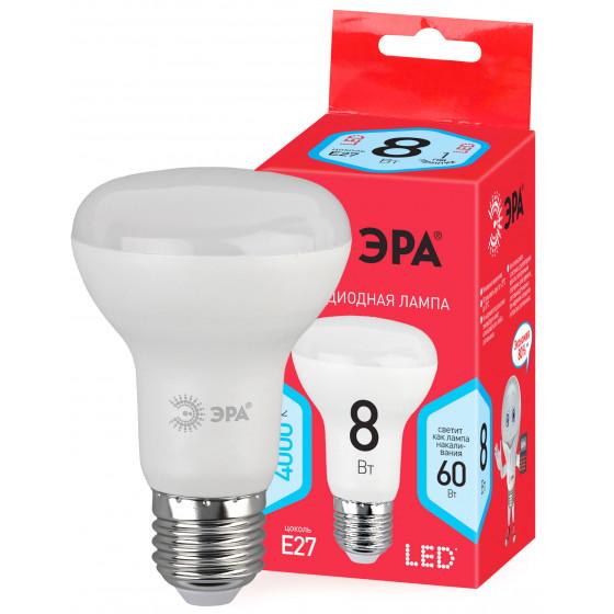 ECO LED R63-8W-840-E27 ЭРА (диод, рефлектор, 8Вт, нейтр, E27) (10/100/2000)