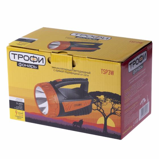 TSP3W Фонарь Трофи Акку 4V2Ah, 3W LED, ЗУ 220V, карт (8/24/96)