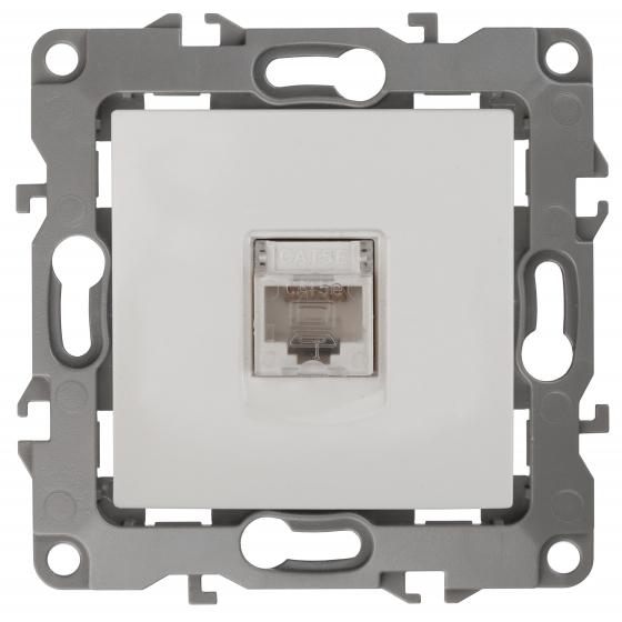 12-3107-01 ЭРА Розетка информационная RJ45, IP20, Эра12, белый (10/100/2800)