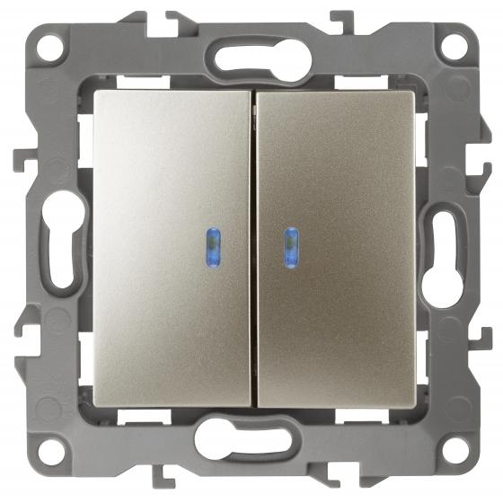 12-1105-04 ЭРА Выключатель двойной с подсветкой, 10АХ-250В, IP20, Эра12, шампань (10/100/2500)
