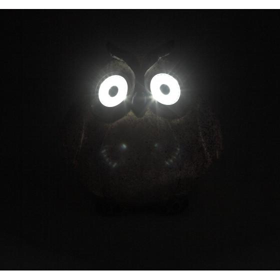 ERAFYS01-08 ЭРА Садовый светильник Сова серая на солнечной батарее, полистоун, 11,5 см (36/432)