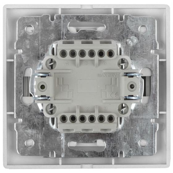 1-104-01 Intro Выключатель двойной, 10А-250В, IP20, СУ, Plano, белый (10/200/2400)