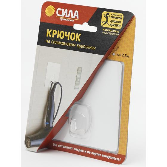 СИЛА Крючок на силикон. крепл. 10х10, БЕЛЫЙ, до 2,5 кг. [SH1010-S1W-24] (24/288/2304)