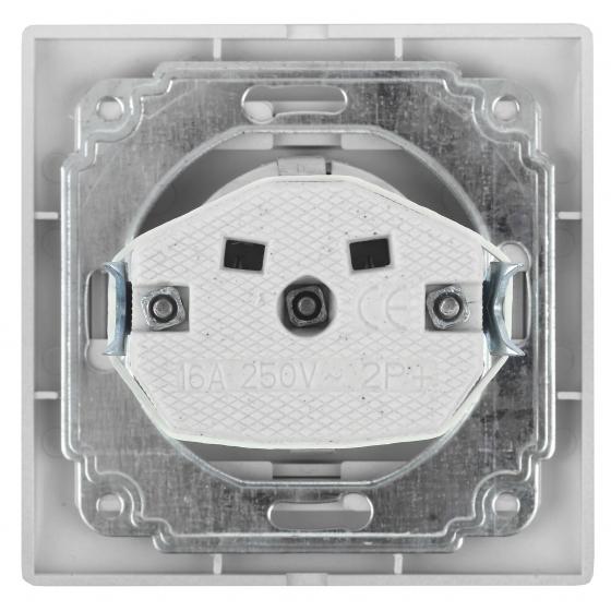 1-201-01 Intro Розетка 2P, 16А-250В, IP20, СУ, Plano, белый (10/200/2400)