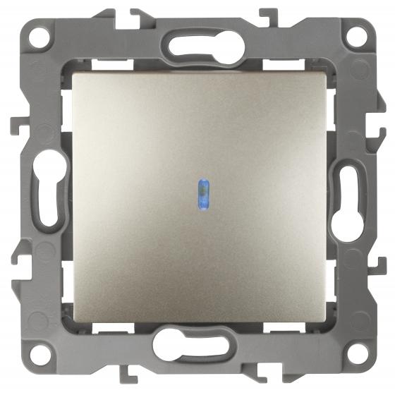 12-1102-04 ЭРА Выключатель с подсветкой, 10АХ-250В, IP20, Эра12, шампань (10/100/3200)