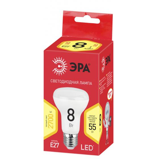 ECO LED R63-8W-827-E27 ЭРА (диод, рефлектор, 8Вт, тепл, E27), (10/100/1500)