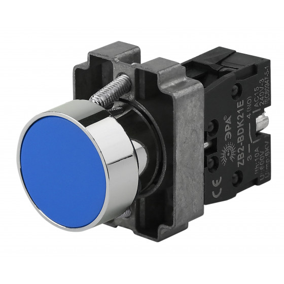 ЭРА Кнопка управления LAY5-BA61 без подсветки синяя 1з (20/200/8000)