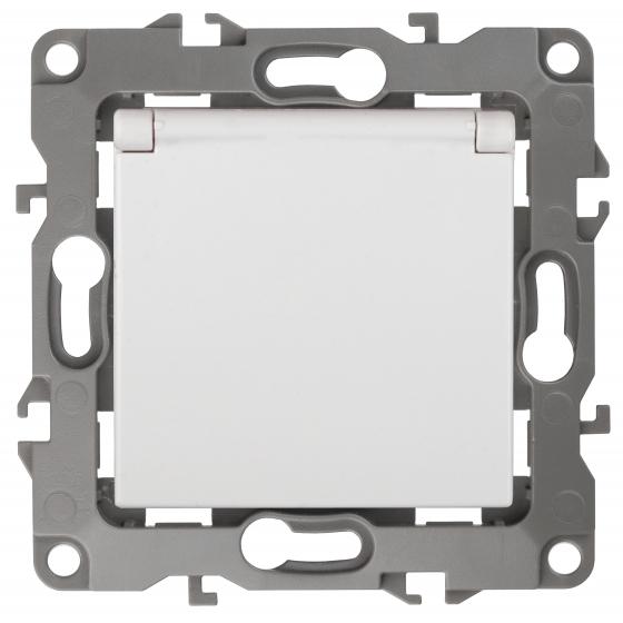 12-2103-01 ЭРА Розетка 2P+E Schuko со шторками с крышкой, 16A-250В, IP20, Эра12, белый (10/100/2800)