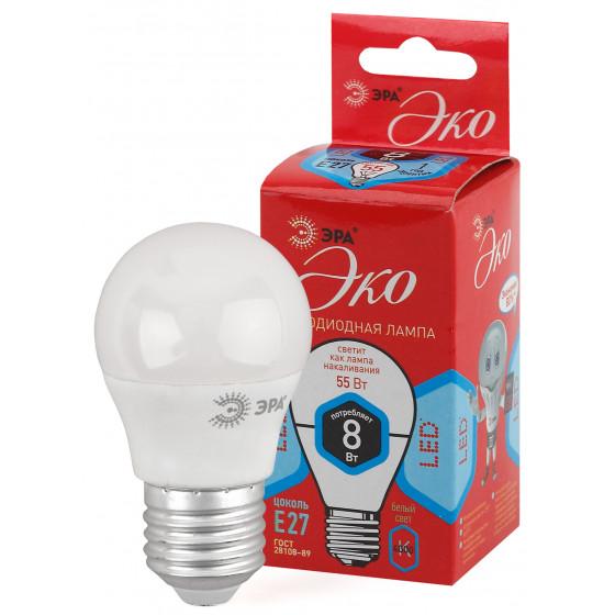 ECO LED P45-8W-840-E27 ЭРА (диод, шар, 8Вт, нейтр, E27) (10/100/3500)