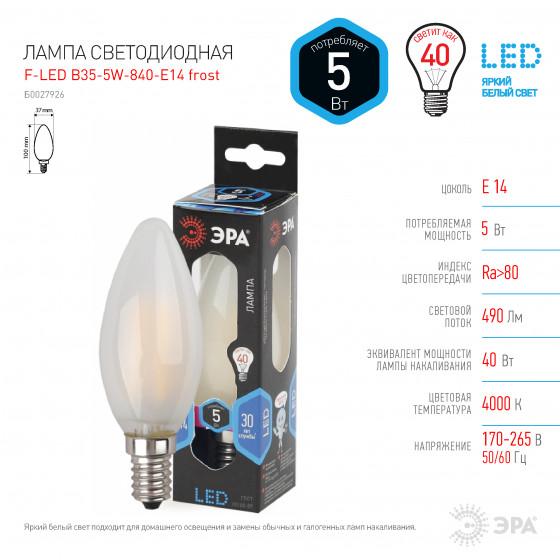 F-LED B35-5W-840-E14 frost ЭРА (филамент, свеча мат., 5Вт, нейтр, E14) (10/100/2800)