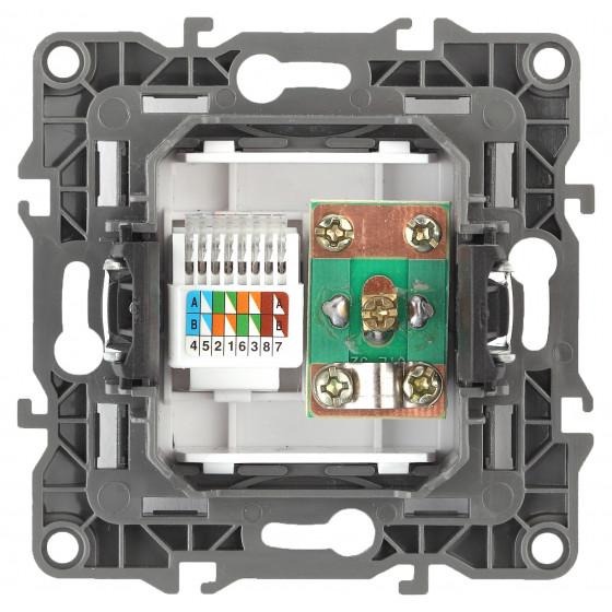 12-3110-06 ЭРА Розетка комбинированная RJ45+TV, IP20, Эра12, чёрный (10/100/3200)