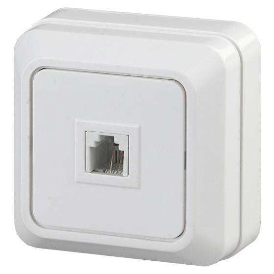 2-302-01 Intro Розетка телефонная RJ11, IP20, ОУ, Quadro, белый (10/200/3600)