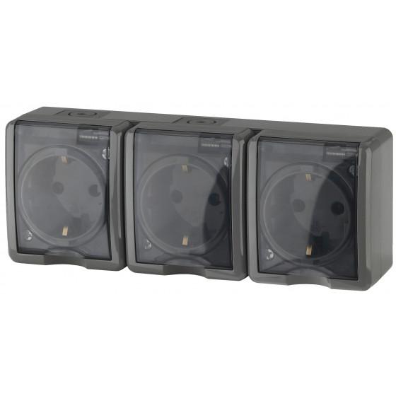 11-2406-03 ЭРА Розетка 3х2P+E IP54, шторки, 16A-250В, ОУ, серый (5/50/800)