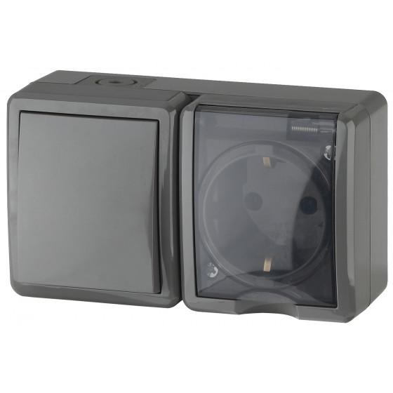 11-7401-03 ЭРА Блок розетка+выключатель IP54, 16A(10AX)-250В, ОУ, Эра Эксперт, серый (8/80/1280)