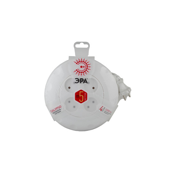 Удлинитель электрический ЭРА  UR-4-5m-W рулетка без заземления 4 розетки 5м 2x0,75мм2 10А белая