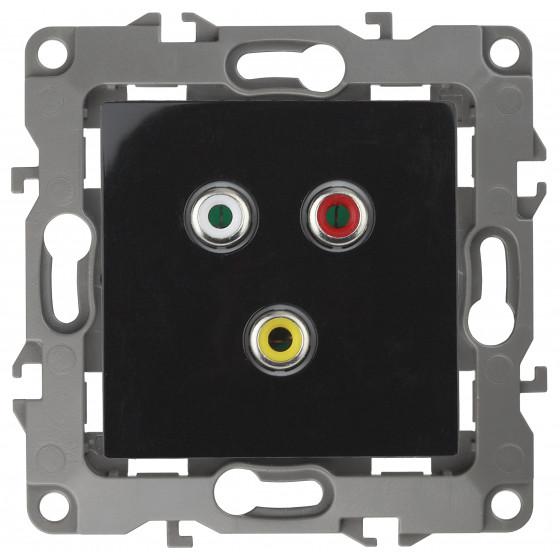 12-3113-06 ЭРА Розетка RCA, IP20, Эра12, чёрный (10/100/3200)