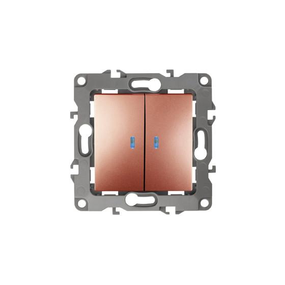 12-1105-14 ЭРА Выключатель двойной с подсветкой, 10АХ-250В, IP20, Эра12, медь (10/100/2500)