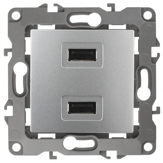 12-4110-03 ЭРА Устройство зарядное USB, 230В/5В-2100мА, IP20, Эра12, алюминий (6/60/1920)