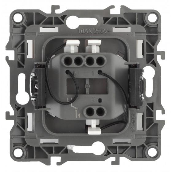 12-1102-15 ЭРА Выключатель с подсветкой, 10АХ-250В, IP20, Эра12, перламутр (10/100/2500)