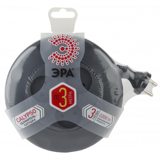 UR-3-3m-B ЭРА рулетка, без заземл, 3гн, 3м, ШВВП, 2x0.75мм2, 10А (10/600)