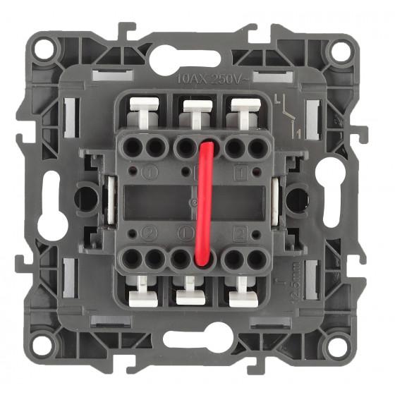 12-1004-02 ЭРА Выключатель двойной, 10АХ-250В, IP20, без м.лапок, Эра12, слоновая кость (10/100/3000