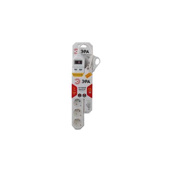 USF-5es-1.5m-USB-W ЭРА Сет.фильтр базовая защита, с/з, с выкл, 5гн+2USB, 1,5м, ПВС,  10А, белый (20/