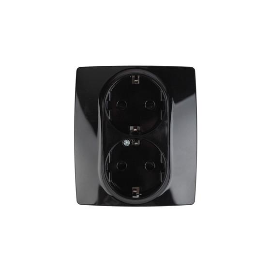 12-2104-06 ЭРА Розетка 2X2P+E Schuko со шторками, 16A-250В, IP20, Эра12, чёрный (6/60/1680)