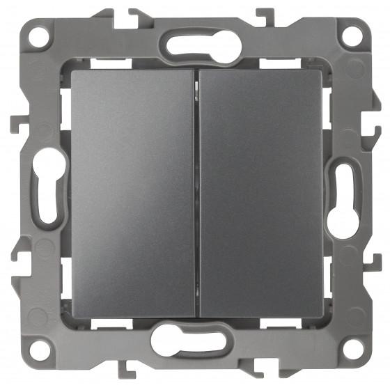 12-1106-12 ЭРА Переключатель двойной, 10АХ-250В, IP20, Эра12, графит (10/100/2500)