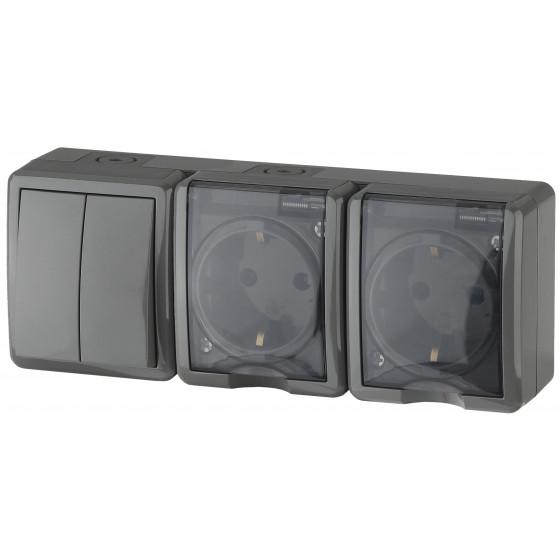 11-7404-03 ЭРА Блок две розетки+выключатель двойной IP54, 16A(10AX)-250В, ОУ, Эра Эксперт, серый (5/