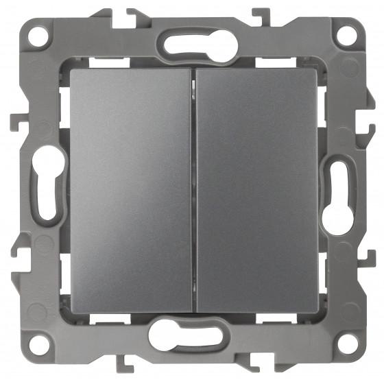 12-1104-12 ЭРА Выключатель двойной, 10АХ-250В, IP20, Эра12, графит (10/100/2500)