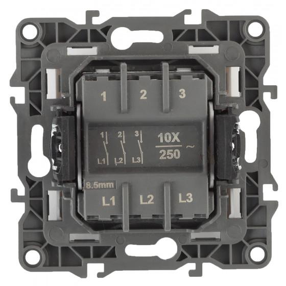 12-1107-03 ЭРА Выключатель тройной, 10АХ-250В, IP20, Эра12, алюминий (10/100/3200)
