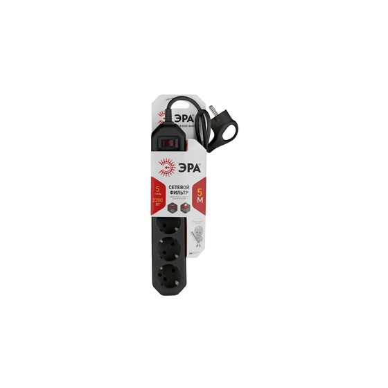 USF-5es-5m-B ЭРА Сет.фильтр базовая защита, с/з, с выкл, 5гн, 5м, ПВС,  10А, черный (20/500)